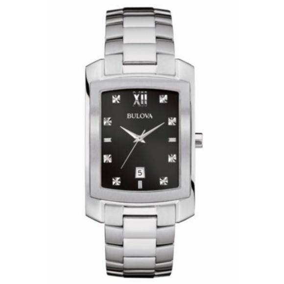 Bulova Other - Mens Bulova Diamond Quartz Silver Black 31mm Watch